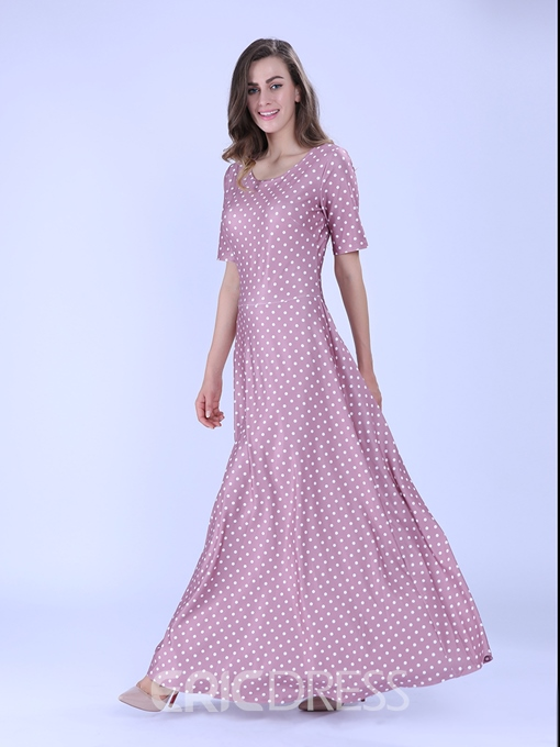 Ericdress Simple Polka Dots Pleated Maxi Dress