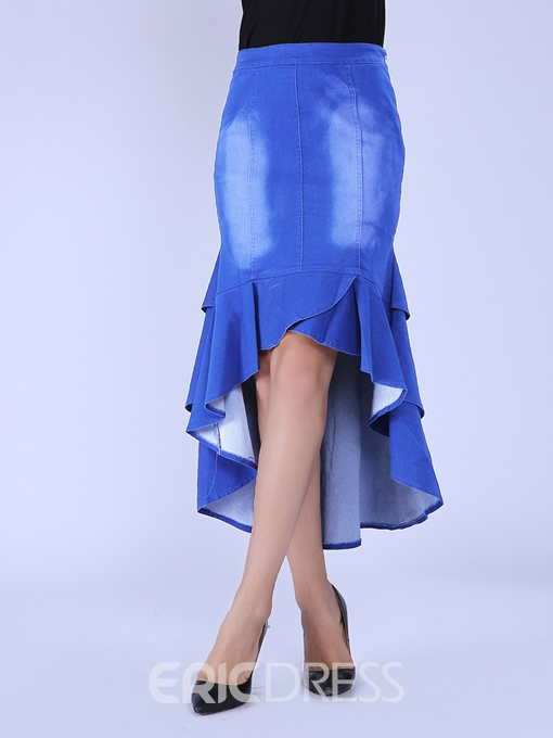 Ericdress Asymmetric Denim Falbala Usual Skirt