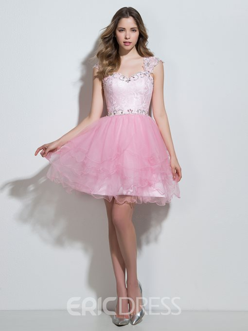 Ericdress Sweetheart A-Line Cap Sleeves Cocktail Dress