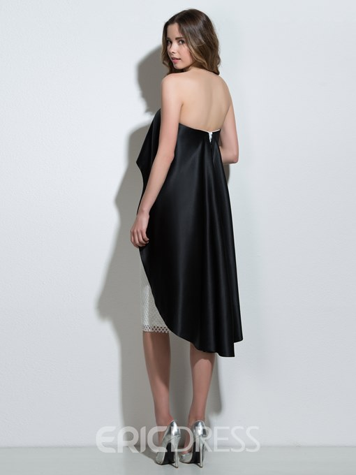 Ericdress Strapless Sheath Contrast Color Knee-Length Cocktail Dress