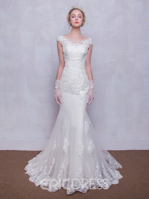 Scoop Neck Appliques Cap Sleeves Mermaid Wedding Dress