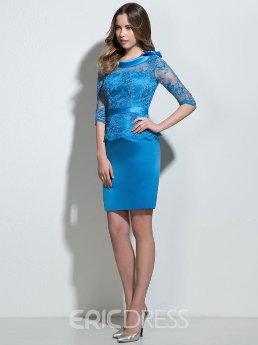 Ericdress Scoop Bowknot Lace Short Cocktail Dress With Half Sleeves