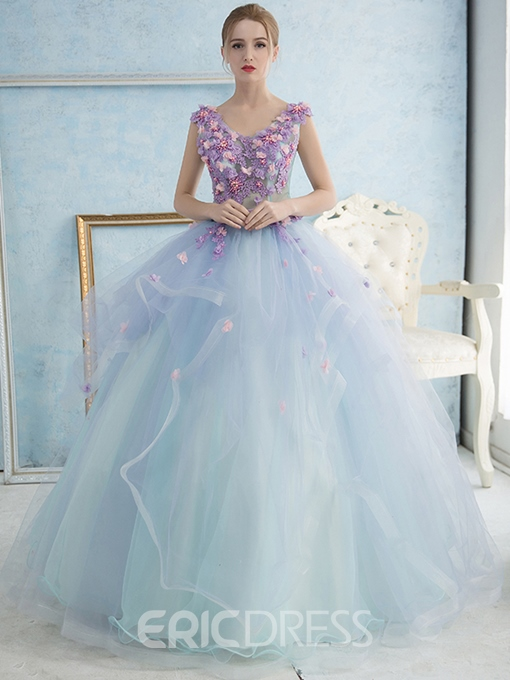 Ericdress V-Neck Ball Gown Lace Flowers Floor-Length Quinceanera Dress