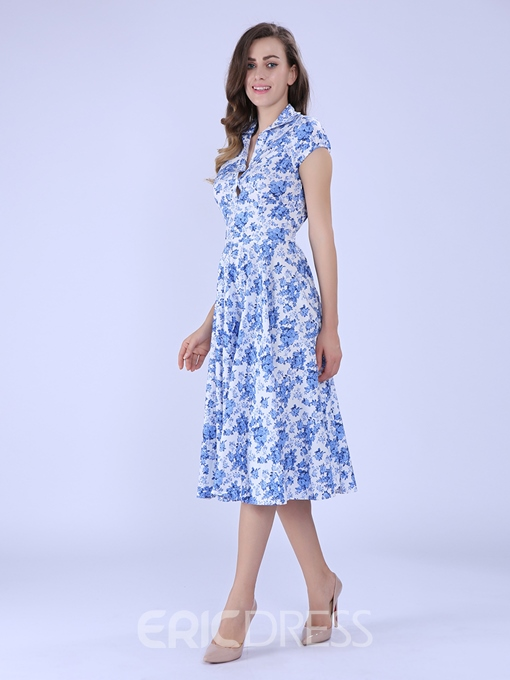 Ericdress Blue Floral Polo Collar A Line Dress