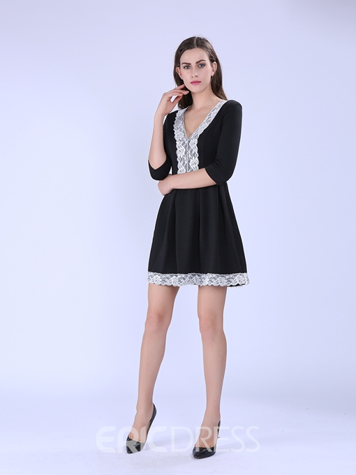 Ericdress Half Sleeve Patchwork Lace A-Line Dress
