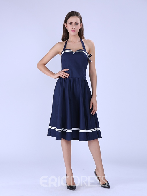 Ericdress Plain Backless Summer A-Line Dress