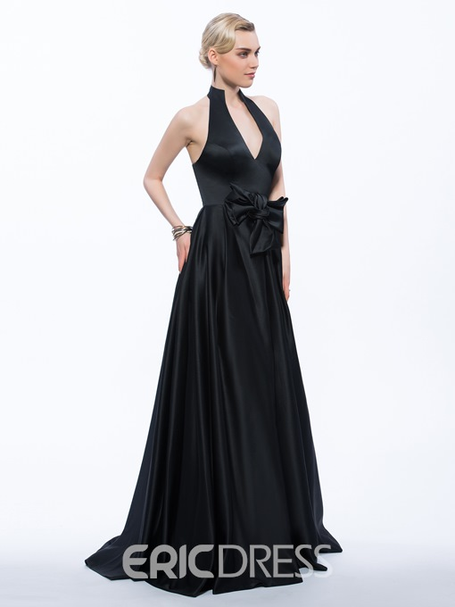 Ericdress A-Line Halter Bowknot Sweep Train Evening Dress