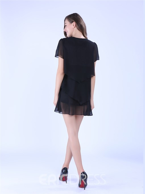 Ericdress Plain Layered Chiffon Casual Dress