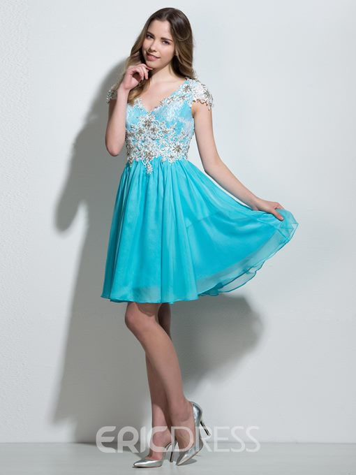 Ericdress A-Line V-Neck Cap Sleeves Appliques Beading Lace Mini Homecoming Dress