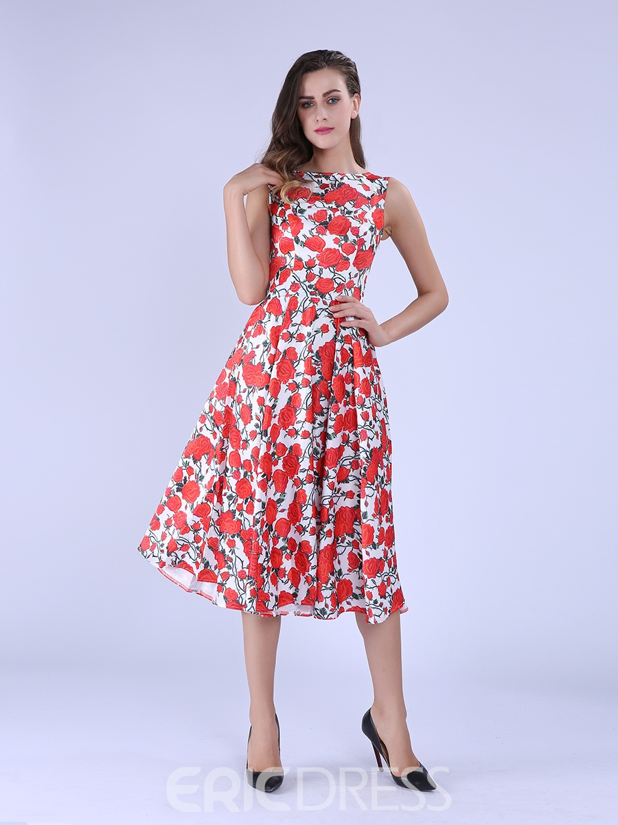 Ericdress Red Floral Casual Dress