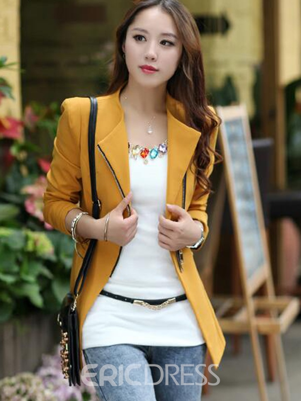 Ericdress Slim Zipper Asymmetric Blazer