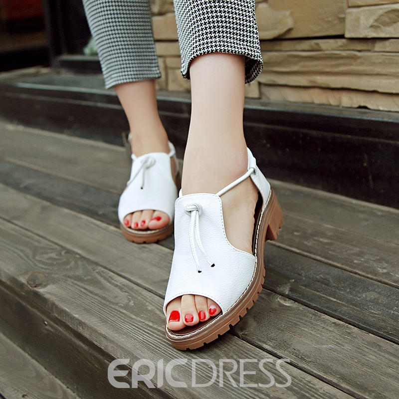 Ericdress Peep Toe Slip-On Lace-Up Flat Sandals