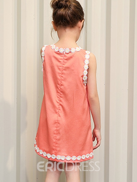 Ericdress Lace-Trim Appliques Sleeveless Girls Dress