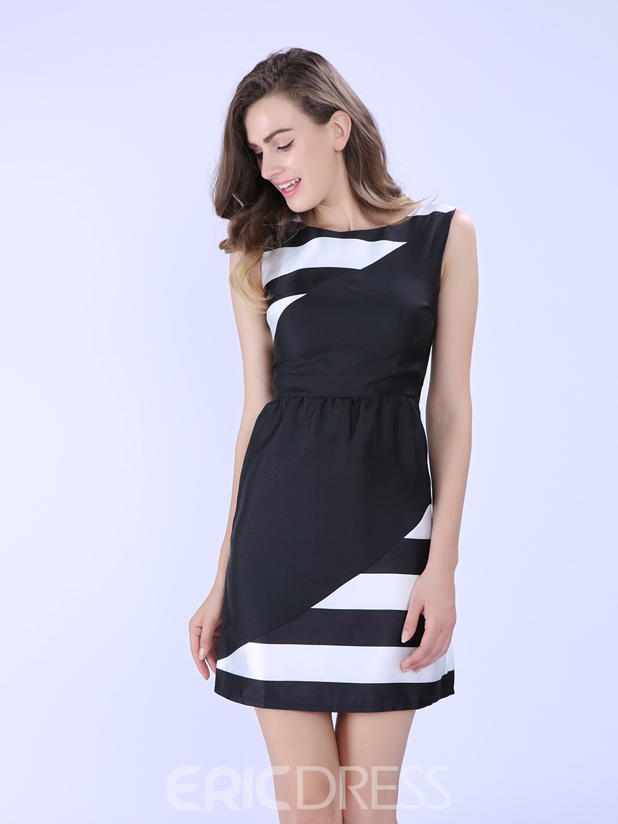 Ericdress Color Block Sleeveness Casual Dress