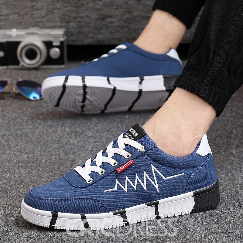 Ericdress Cross Strap Color Block Men's Canvas Shoes