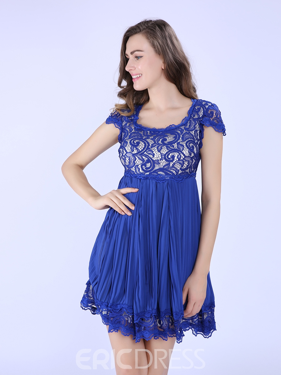 Ericdress Lace Patchwork Short Sleeve A-Line Casual Dress