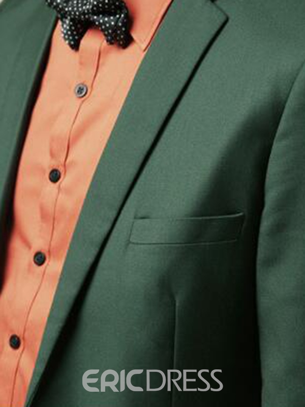 Ericdress Green Plain Slim Fitted Casual Businese Men's Suit