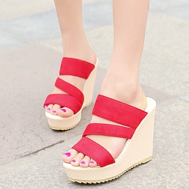 Ericdress charmante Open Toe Keil Mules Plateauschuhe