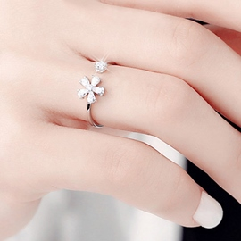 Ericdress Sparking Flower Design Opening Ring