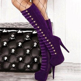 Sexy Fashion Purple Knee High Boots