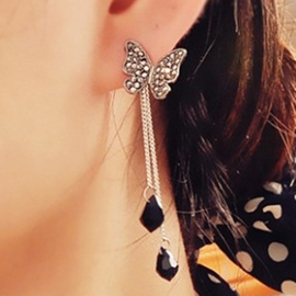 Ericdress Full Rhinestone Butterfly Tassel Earrings