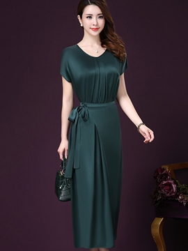 Ericdress Solid Color Lace-Up Short Sleeve Maxi Dress