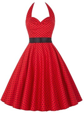 Ericdress Vintage Polka Dots Halter Casual Dress