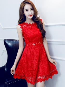 Ericdress Solid Color Sweet Lace Dress