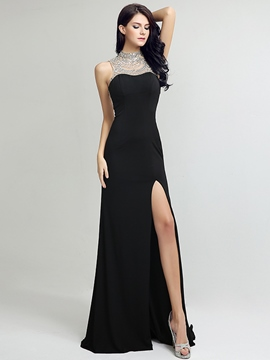 Ericdress High Neck Sheath Beading Crystal Sweep Train Evening Dress