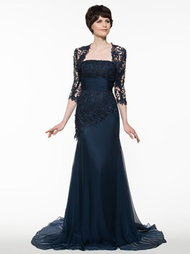Ericdress Elegant Strapless Lace Sheath Long Mother Of The Bride Dress With Jacket