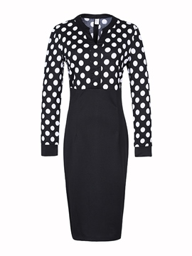 Ericdress Polka Dots V-Neck Patchwork Sheath Dress