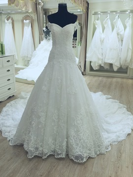 Ericdress Appliques Off The Shoulder Button Wedding Dress