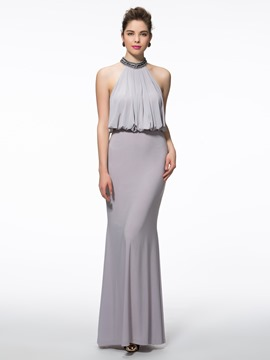 Ericdress Sheath High Neck Beading Floor-Length Evening Dress