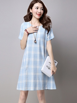 Ericdress Loose Plaid Color Block Casual Dress