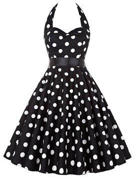 Ericdress Vintage Halter Polka Dots A Line Dress