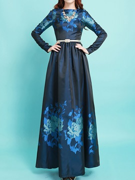Ericdress Autumn Chic Print Long Sleeve Maxi Dress