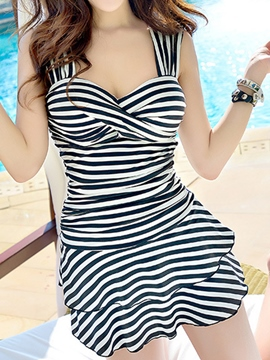 Ericdress Vogue Stripe Falbala One Piece Swimwear