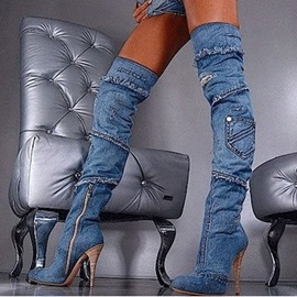 Hot Selling Stylish Denim Knee High Boots