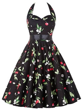 Ericdress Vintage Print Halter Expansion Casual Dress
