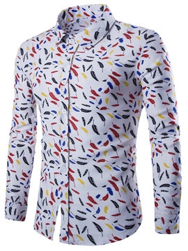 Ericdress Feather Printed Long Sleeve Slim Men's Shirt
