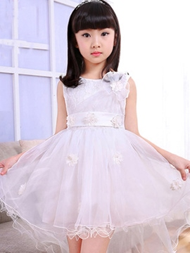 Ericdress Appliques Mesh Belt Falbala Girls Dress