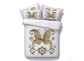 3D Golden Butterfly Printed 4-Piece White Bedding Sets/Duvet Covers