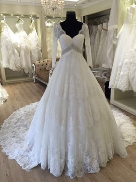 Ericdress Modest V Neck A Line Long Sleeves Wedding Dress