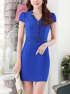 Ericdress V-Neck Single-Breasted Short Sleeve Bodycon Dress