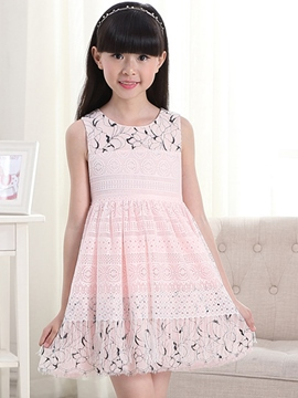 Ericdress Hollow Texture of Cloth Print Belt Girls Dress