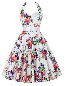 Ericdress Halter Floral Print Skater Casual Dress