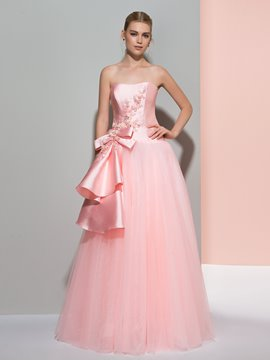 Ericdress A-Line Strapless Beading Bowknot Floor-Length Prom Dress