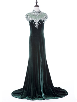 Ericdress Vinatage High Neck Cap Sleeves Beaded Crystal Court Train Evening Dress