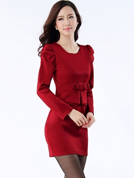 Ericdress Solid Color Long Sleeve Double-Layer Bodycon Dress