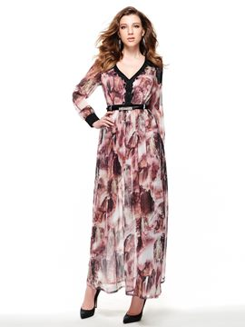 Ericdress Chic Print V-Neck Long Sleeve Maxi Dress